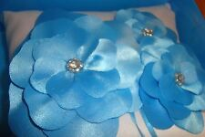 His & Hers Studio: RING Pillow With Satin Floral Bow-Rhinestone / Blue-White