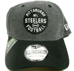 NEW ERA 39Thirty Pittsburgh Steelers NFL Felt Black Football Hat Cap 2 Sizes