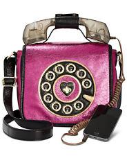 NWT Betsey Johnson Fuchsia Kitsch Off The Hook Telephone Crossbody Bag BJ73100M