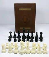 Vintage E.S. Lowe Tournament Chessmen Book and Chess Pieces