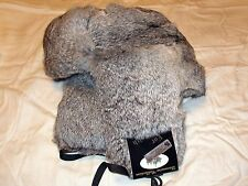 Rabbit Fur Russian Ushanka Winter Hat -Gray -Trapper Bomber Hat -Size 62 / 7 3/4