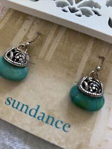 SUNDANCE Catalog Sterling Silver & Turquoise Heart Earrings-
