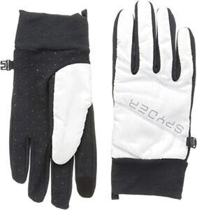 NWT Women's Spyder Solitude Hybrid Stretch Touch Screen Gloves White / Black - L