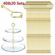 20/40Set 3 Tier Cake Plate Cupcake Stand Rack Fittings Handle Rod Wedding Party