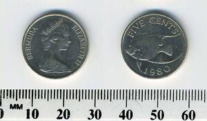 Bermuda 1980 - 5 Cents Copper-Nickel Coin - Tropical Fish - Queen Elizabeth II
