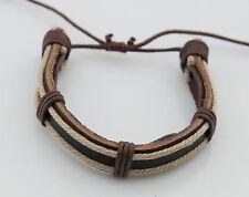Bracelet bresilien cuir bijoux ethnique creation fait main-marron- BB579