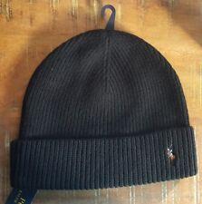 Polo Ralph Lauren PONY Beanie Watch Cap 100% Wool NWT BLACK