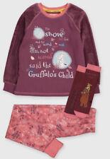 3-4 Years The Gruffalo Girls Purple Pyjamas And Slipper Socks Set New TU