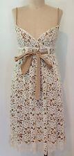 Diane Von Furstenberg DVF Lace Sleeveless Dress Ivory Taupe  SZ 0 XS Knee Length