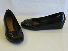 Nurture Black Patent Leather Croc Sandals Peep-toe Wedge Heels 8M – GR8!!!
