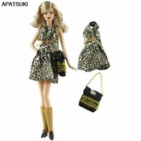 One-Piece Leopard Sleeveless Dress Handbag Outfit Clothes For Barbie Doll Casual