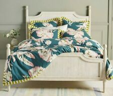 Anthropologie Twin Duvet and Sham Set Teal Floral Print Maroma Bedding Cover