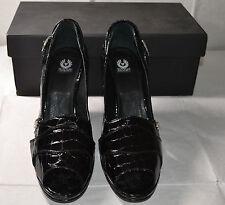 Belstaff Virginia Black Leather Shoes UK6.5 EU40 BNIB Peep Toe Heels Italy