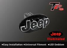 JEEP Logo LED Light Trailer Towing Hitch Brakelight Cover - Black