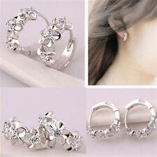 Fashion Women Lady Silver Plated Flower Crystal Rhinestone Stud Hoop Earrings