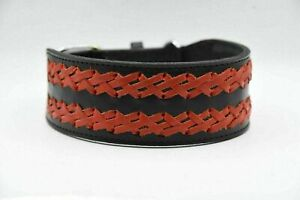 """Large 2"""" Wide Leather Dog Collar Heavy Duty Braid Collar Adjustable For Pit Bull"""