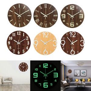 12'' Luminous Glow Wall Clock Silent Dark Quartz Classic Bedroom Night Clock