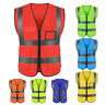 High Visibility Safety Vest With Zipper Reflective Tape Strip Waistcoat Welcome