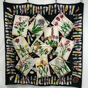 SPECIAL PRICE!  Never Used GUCCI Scarf 100% Silk 90 Black Paint Art Artist Gift