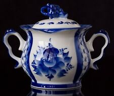 Porcelain Gzhel sugar bowl box server * handmade in Russia * author's work