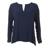 iBLUES MAX MARA Blouse Navy Long Sleeved Size Large RRP £95 BG 486