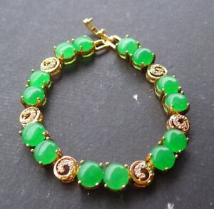 Gold Plate Green JADE Cabochon Beads Bangle Bracelet Diamond Imitation 手链 320689