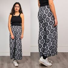 RETRO WOMENS WIDE LEG TROUSERS MONOCHROME FUNKY TILE PATTERN BOHO LOOSE FIT 8