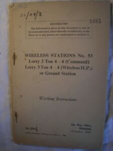 British Army Royal Signals Lorry Wireless Radio Military Vehicle Manual History