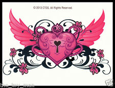 LOWER BACK SHOULDER TEMPORARY TATTOO~WINGED PINK LOVE HEART FOR KIDS GIRLS WOMEN