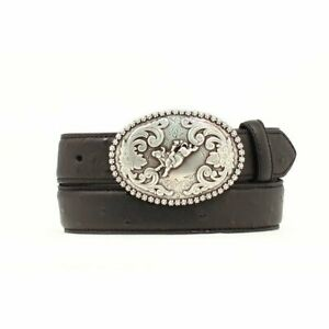 Nocona Boys Western Belt with Bull Rider Buckle Style #N4421801 Black  Size 28