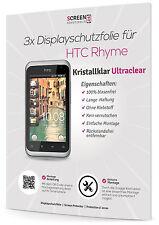 3x Displayschutzfolie für  HTC Rhyme Display Folie Ultra Clear Schutzfolie Klar
