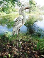 Garden Pond Egret Statue Metal Coastal Bird Sculpture Crane Heron Yard Art ~New