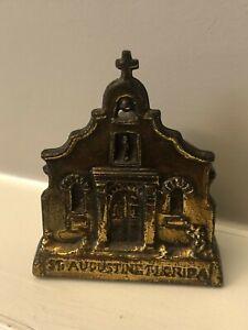 Vintage ST. AUGUSTINE FLORIDA Metal Church Mission SOUVENIR BUILDING Brass