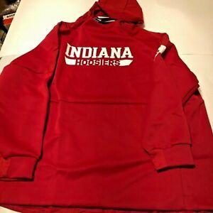 Indiana Hoosiers Adidas Sweatshirt Hoodie NWT Screened Logos Zipper Pockets 3XL