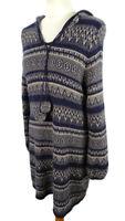 M&S Size 14 16 Navy Blue Grey Jumper Dress Pom Poms Warm Angora Wool Mix