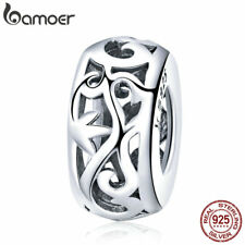 Bamoer European S925 Sterling Silver Hollow Spacer charm For Bracelet Jewelry