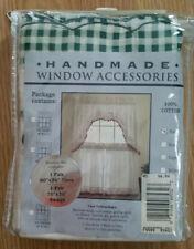Handmade Window Accessories Vintage Curtain Set - Green Plaid NEW