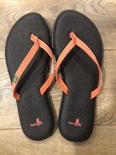 Sanuk Flip flops Size 8 Brown Orange Coral