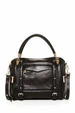 NWT Rebecca Minkoff Cupid Convertible Leather Satchel Bag BLACK/Gold $495+ AUTH