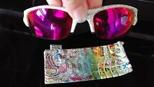 Oakley Flak Jacket Sunglasses White Text with Red Pink Lens