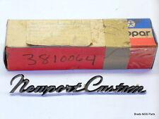 NOS MoPar 1969 1974-75 Chrysler NEWPORT CUSTOM FENDER NAMEPLATE 3810064 2901360
