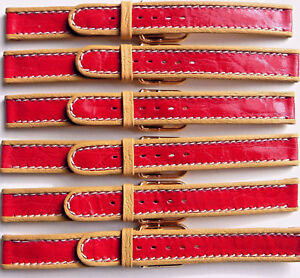 LOT OF 6 14mm FLEURUS GLOSSY RED STRIPE ON TAN CALF LEATHER WATCH BAND / STRAP