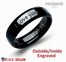 Personalized Engraved Stainless Steel Lover Couple Band Engagement Promise Ring