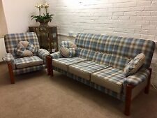Newly reupholstered 3 seater sofa and single  armchair in light blue tartan