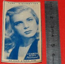 CINEMA 1947 TURF CIGARETTES CARD FILM STARS 22 LIZABETH SCOTT HOLLYWOOD ACTRICE