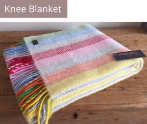 TWEEDMILL TEXTILES RAINBOW CANDY GREY STRIPE PURE WOOL KNEE THROW BLANKET RUG