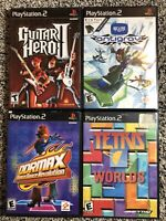 Ps2 Game Lot: Tetris: Worlds, Guitar Hero 2, DDRMAX dance dance Revolution, and