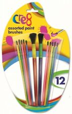 PACK OF 12 ASSORTED COLOUR PAINT BRUSHES CHILDRENS CHILDS ART & CRAFT PAINTING