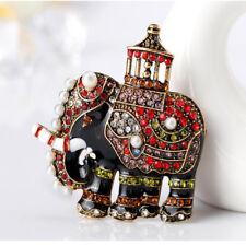 Enamel Brooch Pin Fashion Jewelry Women Popular Rhinestone Elephant Animal Shape