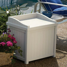 Outdoor Storage Deck Box Patio Garden Yard Resin Wicker Plastic Seat Pool Bin